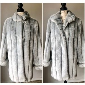 Dennis Basso Gray Faux Fur Luxurious Trench Coat S